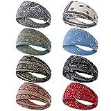 Dlala 8 Pack Yoga Sports Headbands for Women Elastic Non-Slip Headbands Workout Running Hair Bands