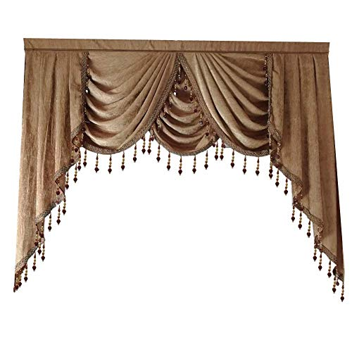 Beaded Waterfall Valance for Windows European Solid Brown Chenille Fabric Fit for Luxury Blackout Luxury Living Room Curtains Drapes Rod Pocket Top Window Treatments Valance 1 Panel W118 Inch