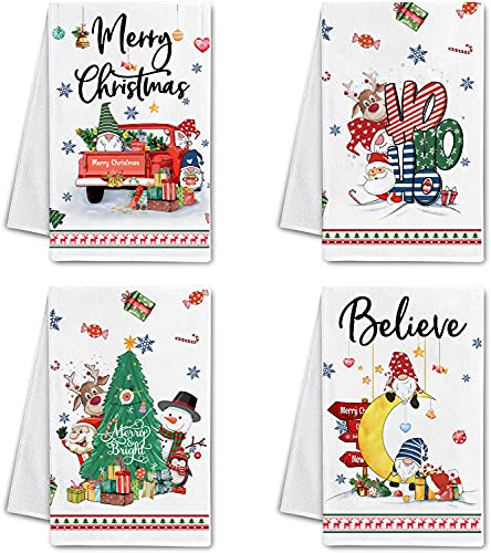Hexagram Christmas Kitchen Dish Towels Set of 4-Best Cute Winter Kitchen Tea Towels with Sayings-Housewarming Gift for Decorative Christmas Funny Gnomes and Santa Claus Hand Towels for Drying Dishes