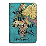 World Map Personalized Leather RFID Passport Holder Cover - Travel Wallet