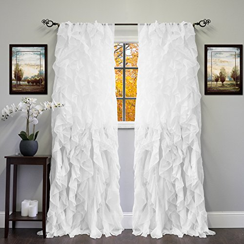 """Sweet Home Collection Sheer Voile Vertical Ruffled Window Curtain Panel 50"""" x 84"""", 84"""" x 50"""", White, 2 Count"""