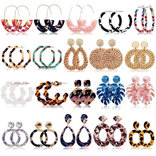 Bohemian Statement Earrings for Women Girls, FIFATA 20 Pairs Rattan Drop Dangle Earrings Mottled Acrylic Resin Hoop Fashion Fall Jewelry (A-20 Pair)