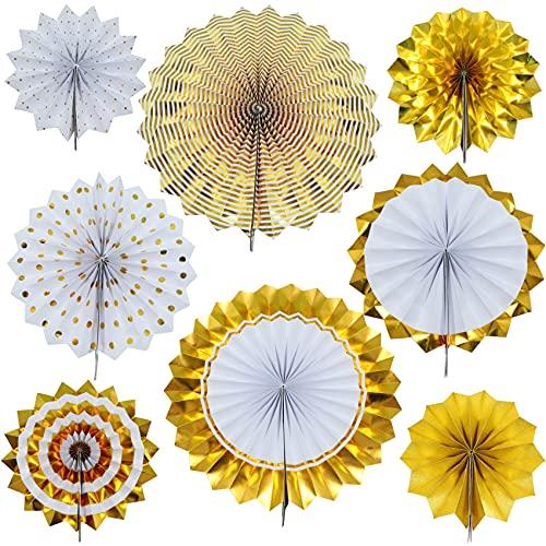 Decoración para fiestas, Decoraciones colgantes de flores de papel dorado para fiesta (8pcs) colgante globo para cumpleaños Navidad carnaval Año Nuevo decoración
