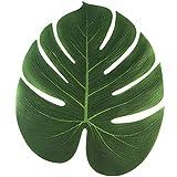 Ruluti 10pcs 13inch Artificial De Palm Falso Hojas Tabla Mantel Costa del Té Tabla Mat Hawaii Tropical De La Boda Decoración De La Tabla del Partido