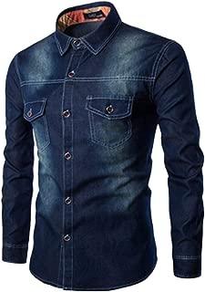 SEAWEED Men's Vintage Denim Washed Long Sleeve Dress Shirts