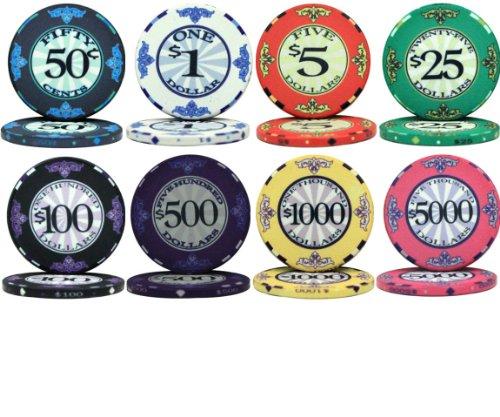PS Scroll Design 10gm Ceramic Poker Chip Sample Set - 8 New Chips!