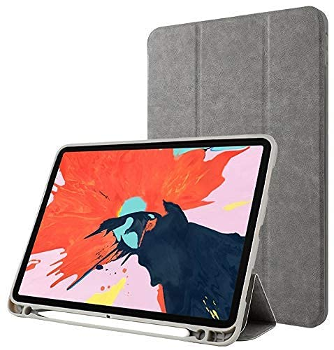 Oaky Smart Case for iPad 9/8/7 Generation 10.2 inch (2020/2021/2019) Pencil Holder, PU Lather, Trifold Stand, Auto Wake/Sleep, Soft TPU Back Case Cover – Grey