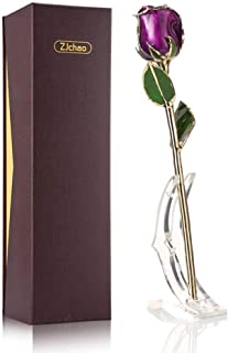 ZJchao 24K Gold Dipped Real Rose, Gifts for Her Anniversary Valentine's Day Christmas to Mom, Wife, Girlfriend, Women's Best Gift