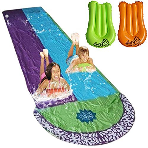 Lawn Water Slide Children Garden Racing Double Backyard Toys Outdoor Blow Up with 2 Surfboards and Crash Pad