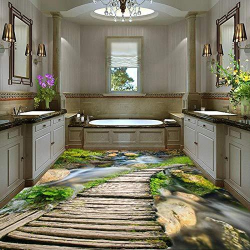 suelo 3d personalizado etiqueta de la suelo Papel De Parede 3D Paisagem Puente de madera clásico chino Stream Foto Mural Papel tapiz Azulejos de suelo 3D Cocina Baño Vinilo Mural-350 * 245cm
