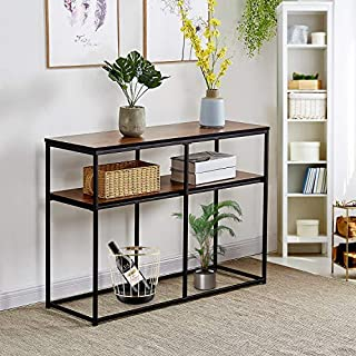 VECELO Multipurpose Sofa Side Bookshelf Rectangular Entryway/Living Room Tables with Storage Shelf, Brown