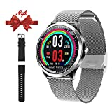 Smart Watch for Android iOS Phone-Fitness Tracker Wrist Watch with Heart Rate Sleep Monitor Step Counter Bluetooth Color Screen Smart Watch for Men Women Kids Running, Hiking and Climbing (Sliver)