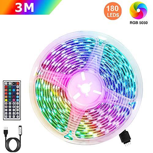Tiras LED RGB 3m, AUELEK USB Tiras LED 180 LEDs 5050 Tira LED Exterior con 20 Colores/ 6 Modos/Impermeable IP65/ Control...