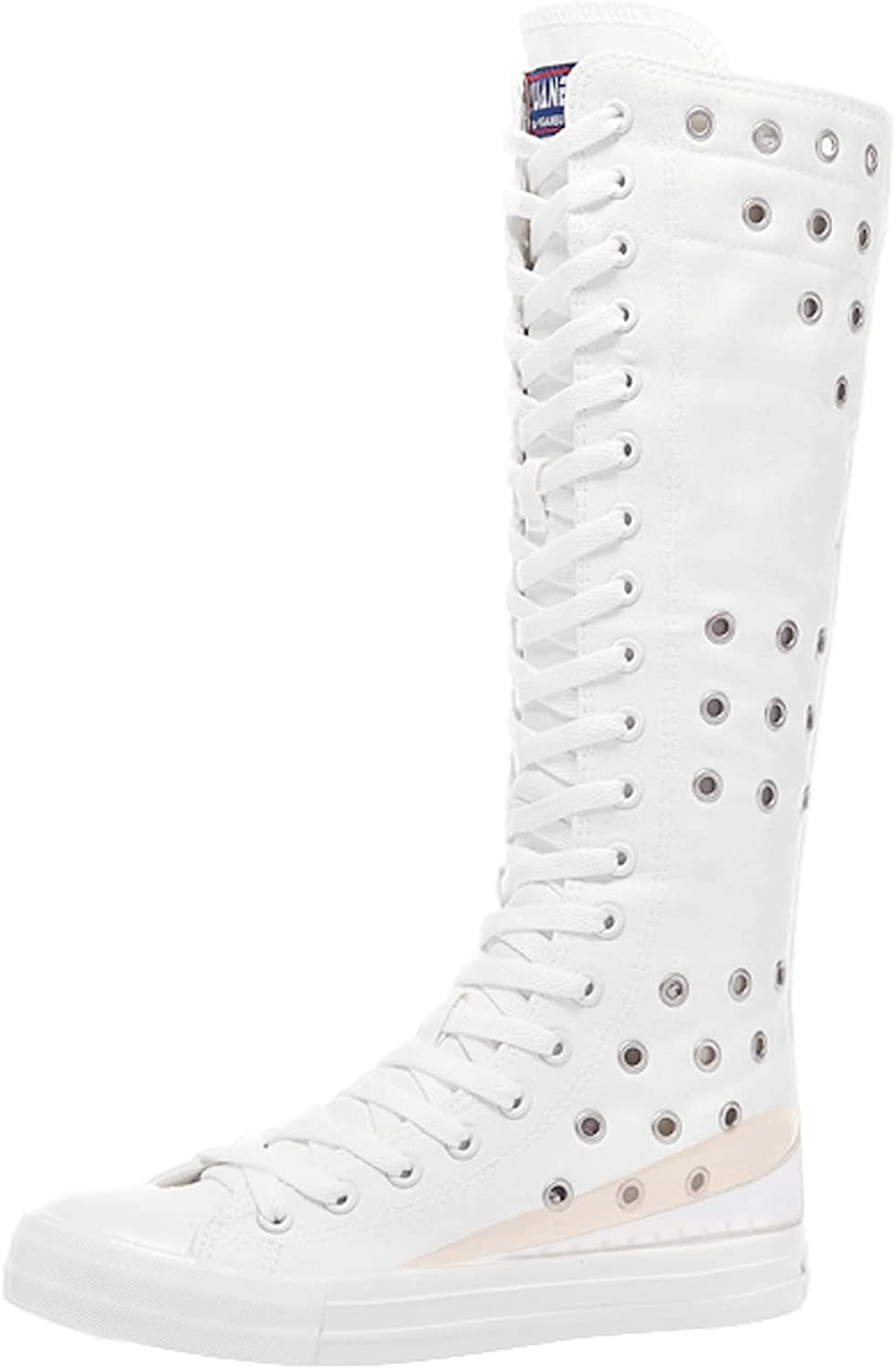 ANUFER Womens Canvas Milwaukee Mall Wedge Award-winning store Zipper Knee with Boots