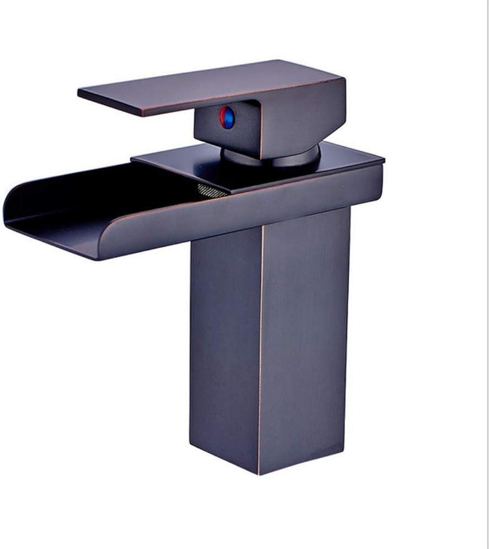 Modernes Wasserhahn-Badezimmer-Hahnschwarz-Bronze-modernes Wasserfall-Wasser-Badezimmer-Einzelbecken-Einzelsitzloch-heier und kalter Wasserhahn