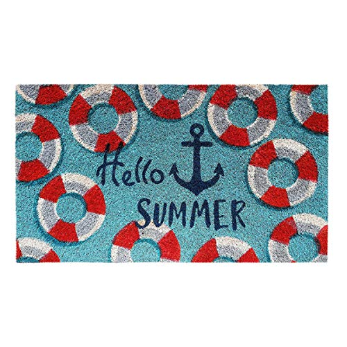 Banzaii Felpudo de Coco 40 x 70 cm Fijado a una Base de PVC Antideslizante con Estampado Colorido - Hello Summer Ancla