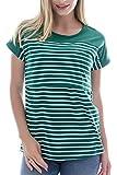 Smallshow Camiseta Enfermería de Manga Corta Camiseta Maternidad Lactancia Top Algodón Premamá Embaraza de Rayas Deep Green Large