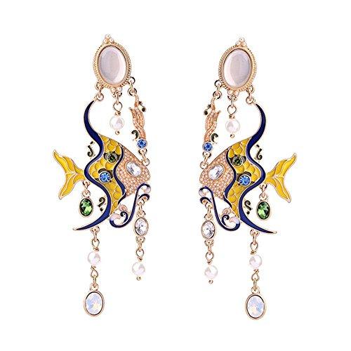 QIYUEQI Tornillos de oreja ms antiguos de peces continentales Pearl Crystal oído oído uñas adornos y elegante