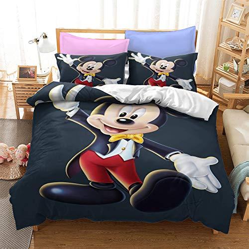 SK-YBB Niño Juego De Funda De Edredón De Minnie Y Mickey Mouse Funda Nórdica Y Funda De Almohada De Microfibra (B4,180 x 210 cm-Cama 105cm)