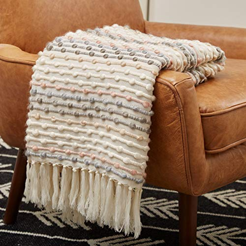 Amazon Brand – Rivet Bubble Textured Lightweight Decorative Fringe Throw Blanket, 48' x 60', Grey and Cream