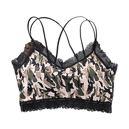 Gwxevce Mujeres Sexy Leopard Camuflaje Bralette Volantes Encaje Strappy Unerwear Lencería Cmouflage