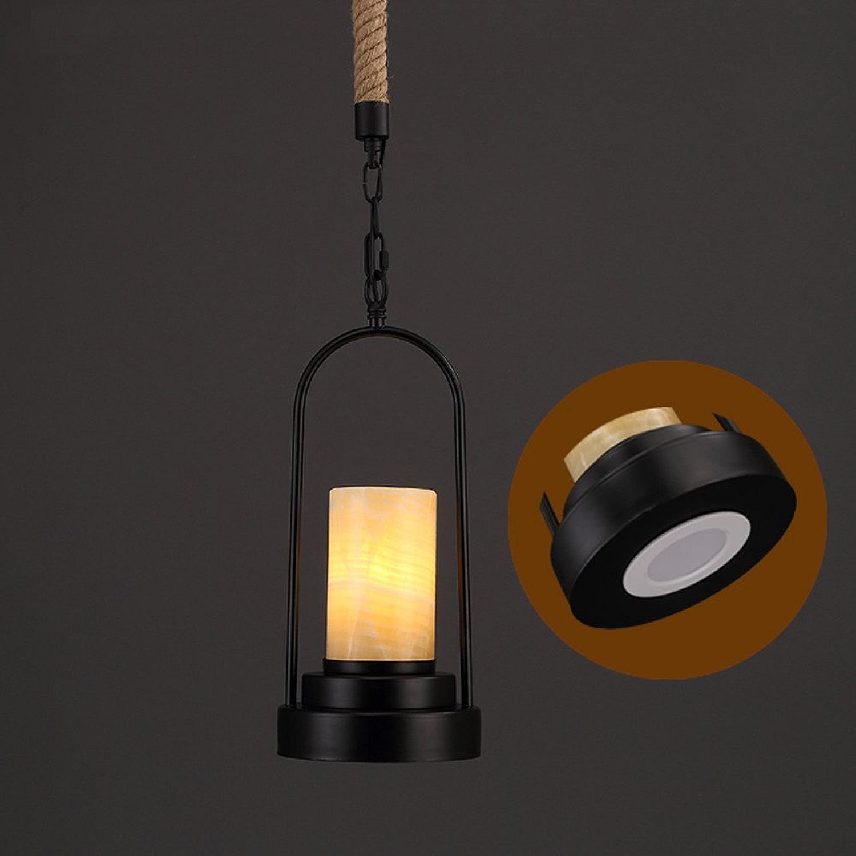 Lustres en fer américains, matériel industriel vintage à LED corde de chanvre plafonniers décoratifs en marbre noir rouille antique barre antique chandelle pendentif (Couleur   noir)
