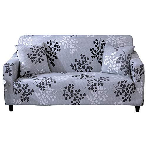 HEYOMART Sofa Cover High Stretch Elastic Fabric 1 2 3 Seater Sofa Slipcover Chair Loveseat Couch Cover Polyester Spandex Furniture Protector Cover (1 Seater, Grey Leaves)