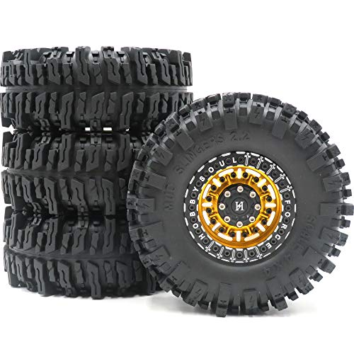 4pcs RC 2.2 Mud Slingers Tires Soft Super Grip Crawler Tyres Height: 124mm/4.88inch & Aluminum Force 2.2 Beadlock Wheels Rims Black/Gold Color