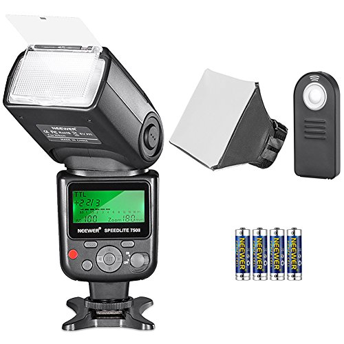 Neewer Kit di Flash Speedlite TTL 750II per Nikon, con Wireless Telecomando a Infrarossi, Batteria AA, Diffusore , per Nikon D7200 D7100 D7000 D5500 D