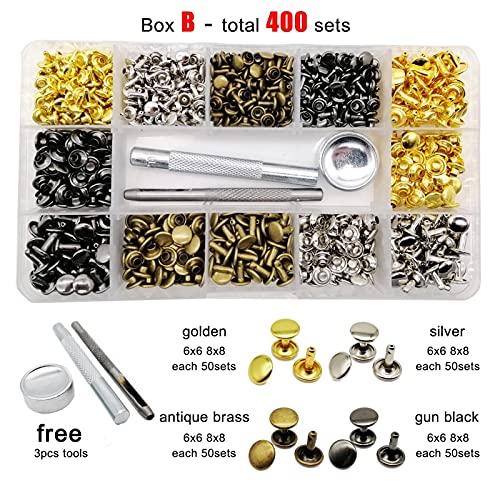 Remaches y roblones, 400/600 Conjuntos 6mm / 8mm / 10mm Metal Tapa de doble tapa Remache redondo Remache Spike para cinturón de cuero Bolsa de billetera Ropa Kit de surtido Caja