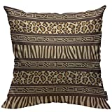 Mugod Throw Pillow Cover Beige Safari African Style with Wild Animals Skins Red Tribal Leopard Home Decor Square Pillow Case for Men Women Boy Gilrs Bedroom Livingroom Cushion Cover 18x18 Inch