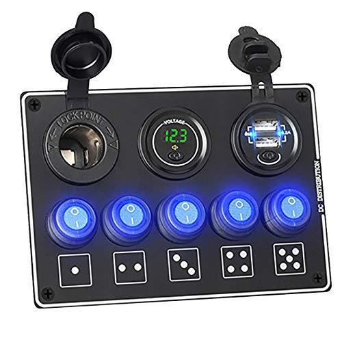 Fransande - Panel de conmutador de 5 Gangs, 4,2 A, doble pantalla de voltaje digital con doble toma USB, para coche, marina, estanca, color verde