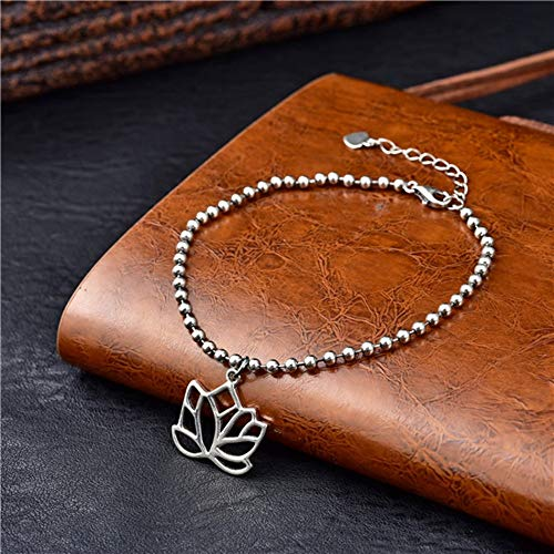 Sterling zilveren Armband Dames, Glamour Lady 925 Vintage Lotus Hanger Armband Mode Beaded Sieraden Persoonlijkheid Zilver Armband Eenvoudige Feest Elegant Casual Comfortabele Kerst Verloving Geboorte