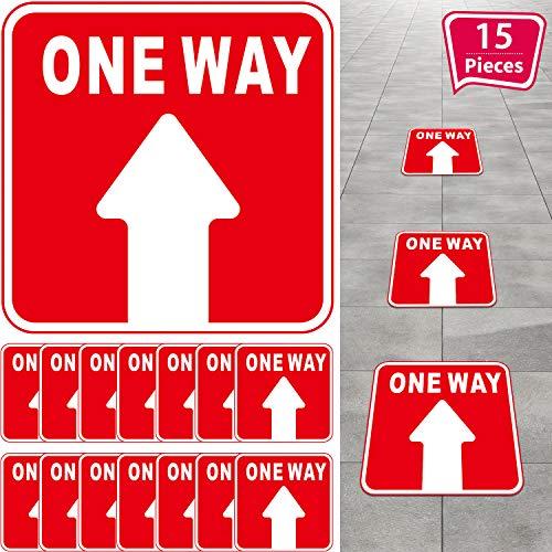 15 Señal One Way, Etiqueta Direccional de Piso de Distancia Social Pegatina de Flecha Antideslizante Reajustable, Marcador de Piso de Seguridad para Centro Comercial Tienda Oficina (Rojo, Blanco)