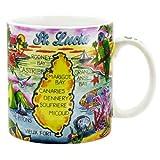 World By Shotglass St. Lucia Caribbean Map Souvenir Collectible Large Coffee Mug (4' H x 3.75' D) 16oz