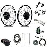 SCHUCK 48V1500W Electric Bike Conversion kit 20 24' 26' 27.5' 28' 29' 700C Front Wheel Electric Bicycle, brushless gearless Motor with LCD6 for Electric Bicycle Conversion (48V 1500W Front 700C)
