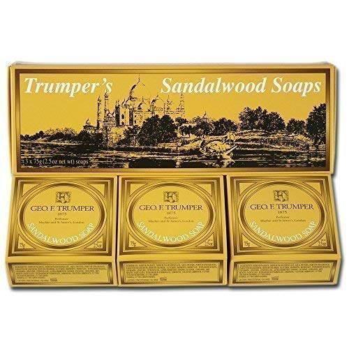 Geo F Trumper Mens Long Lasting Sandalwood Hand Soaps in Gift Box (3x75g) by Geo F. Trumper