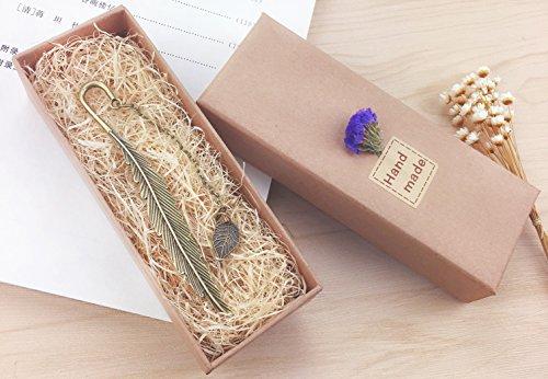 eMosQ Segnalibro in metallo, con rivestimento in ottone, a forma di piuma, classico, realizzato a mano, in confezione regalo leaf-antique bronze