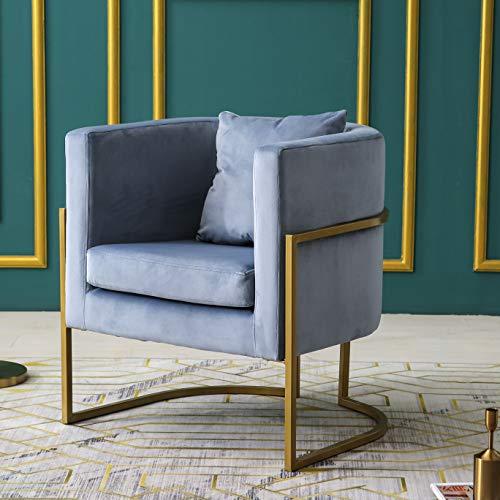 Cherry Tree Furniture GRACIE Velvet Armchair Tub Chair with Cushion & Metal Frame (Blue)