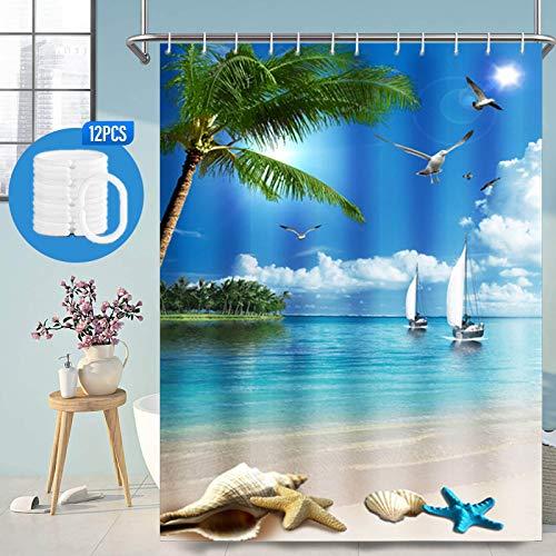 Duschvorhang 180x180cm, Shower Curtains Duschvorhang Antischimmel Wasserwiderstandsfähiges Polyestergewebe, Duschvorhang Wasserdicht Strand Blau Ozean Palmen & Insel, Duschvorhang Badewanne mit 12 Haken