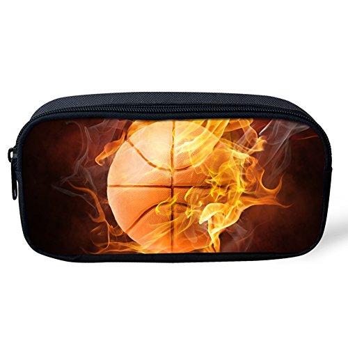Federmäppchen für Jungen von Coloranimal, cooles Fußballmuster, geeignet für Stifte, Schreibwaren, Büromaterial 8.66 inch(L)x1.77 inch(W)x4.33 inch(H) 3D basketball design-2