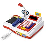 ZOVI Cash Register for Kids a Play Set of Microphone, Scanner, Calculator, Pretend Play Food Toys, Cashier Toy & Toddlers, Play Restaurant/Grocery/Supermarket Play Money, Classic Counting Kids Toys