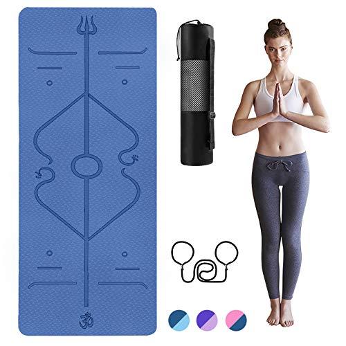 TTMOW Yogamatte Gymnastikmatte mit Ausrichtungslinien TPE Umweltfreundliche rutschfeste Fitnessmatte 183x61x0,6cm Übungsmatte mit Tragegurt und Aufbewahrungstasche für Yoga, Pilates, Fitness(blau)