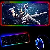 アニメマウスパッドレムエクステンションRGBマウスパッド滑り止めラバーベース14照明モードLEDゲーミングキーボードパッド大型マウスパッド(30x80cm)