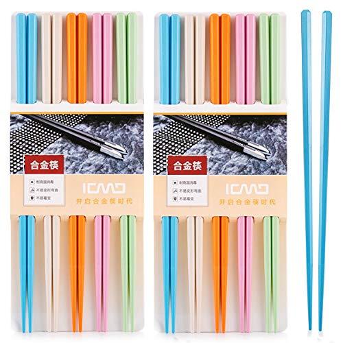 bunt EssStäbchen 10 Paar - Japanische Chopsticks bunt chinesische stäbchen Alloy Chopsticks Stäbchen für Asiatisches Geschirr Wiederverwendbare EssstäBchen Waschbar FüR GeschirrspüLer Geschirr Set