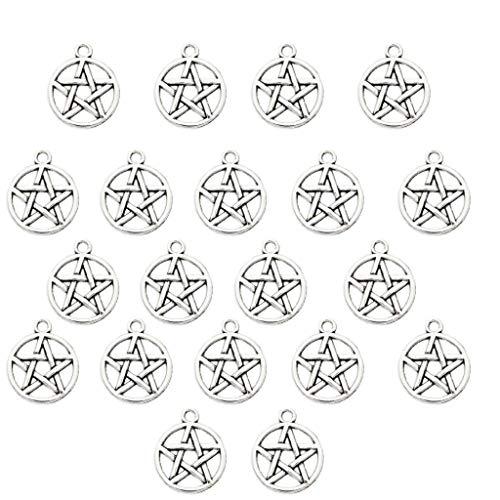 IPOTCH 20 Stück Antikes silbernes Pentagramm Anhänger DIY aus Legierung 8x18mm Schmuck Zubehör
