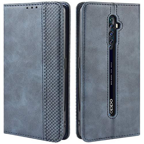 HualuBro Handyhülle für Oppo Reno 2Z / 2F Hülle, Retro Leder Brieftasche Tasche Schutzhülle Handytasche LederHülle Flip Hülle Cover für Oppo Reno2 F / Reno2 Z - Blau