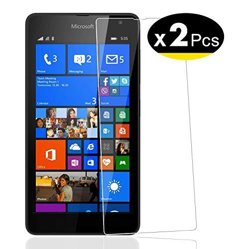 NEW'C PanzerglasFolie Schutzfolie für Nokia Lumia 535, [2 Stück] Frei von Kratzern Fingabdrücken und Öl, 9H Härte, HD Displayschutzfolie, 0.33mm Ultra-klar, Displayschutzfolie Nokia Lumia 535