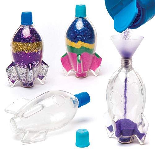 Baker Ross AR689 Rocket Sand Art Bottles-Pack of 5, for Kids Crafting and Decoration Making, Transparent