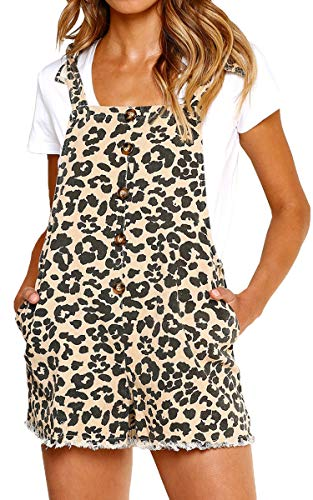 ECOWISH Women Leopard Bib Overalls Sexy Strap Backless Summer Beach Romper Jumpsuit with Pockets Khaki L